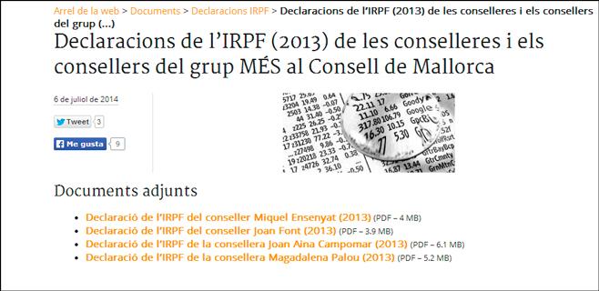 Més difunde en su web la declaración de IRPF de sus consellers insulares