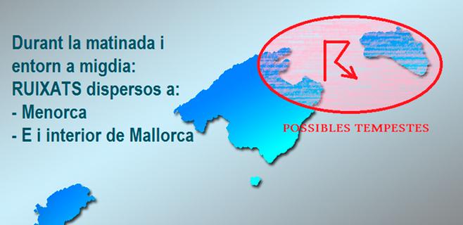 AEMET advierte de tormentas en el nordeste de Mallorca para este lunes