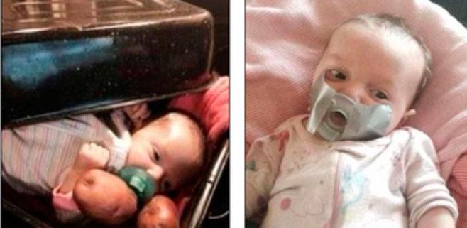 Indignaci�n en la Red por las fotos de un beb� con cinta aislante