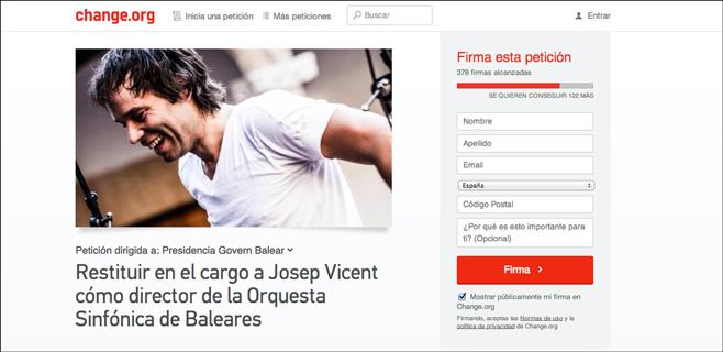 Abierta una petición en change.org para pedir la restitución de Josep Vicent