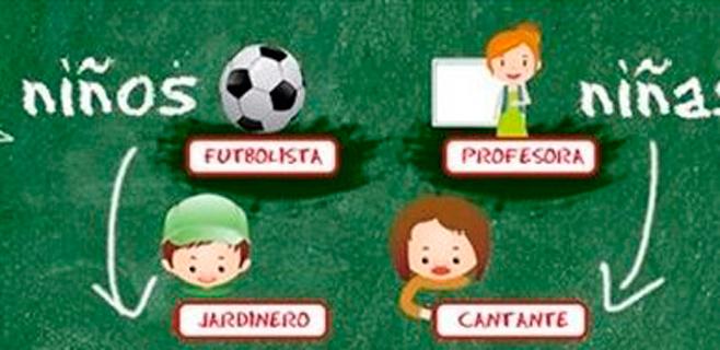 Los niños, futbolistas, y las niñas, profesoras