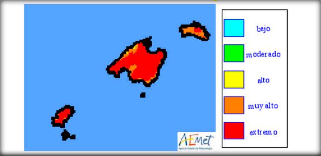 Riesgo máximo de incendio en la isla