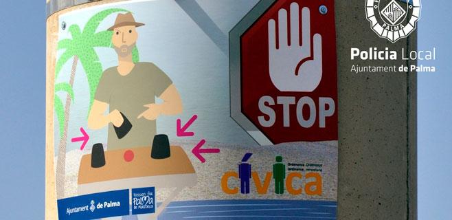 Cort instala pictogramas antitrileros en las farolas de la Platja de Palma