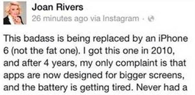 Joan Rivers promociona el iPhone 6 después de muerta