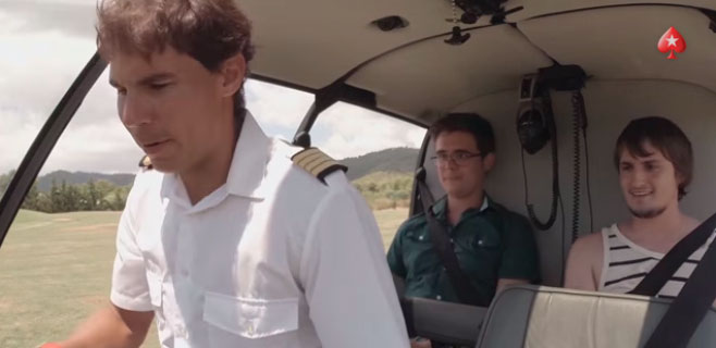 Rafa Nadal hace de piloto de helicóptero en una cámara de oculta
