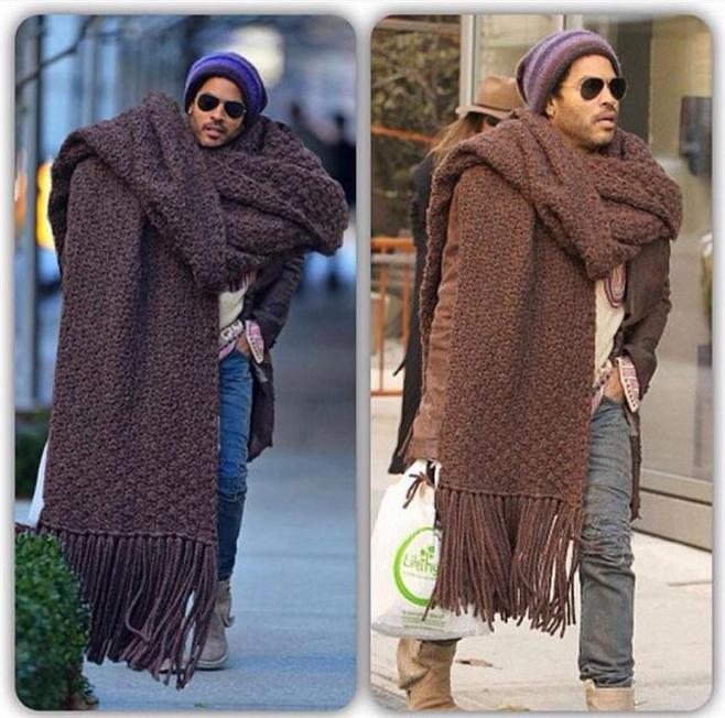 La bufanda (muy) gigante de Lenny Kravitz