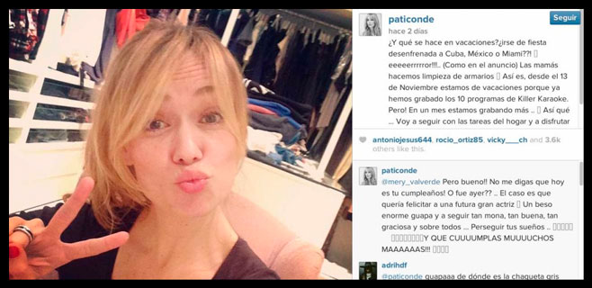 Patricia Conde la lía en Instagram
