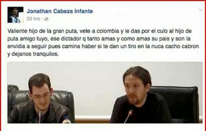 Un concejal del PP desea un tiro en la nuca a Pablo Iglesias