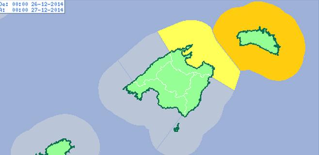 Activada la alerta naranja en Menorca y amarilla en Mallorca por fuertes vientos