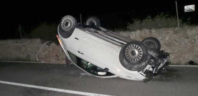 Espectacular accidente sin heridos en la carretera de Llucmajor a s'Estanyol