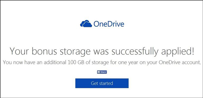Microsoft ofrece 100 GB gratis para OneDrive