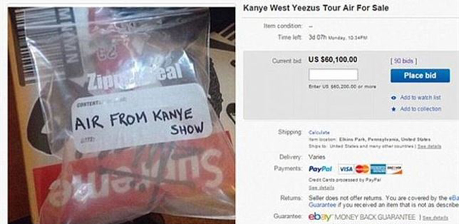 Se vende en Ebay aire de concierto de Kayne West