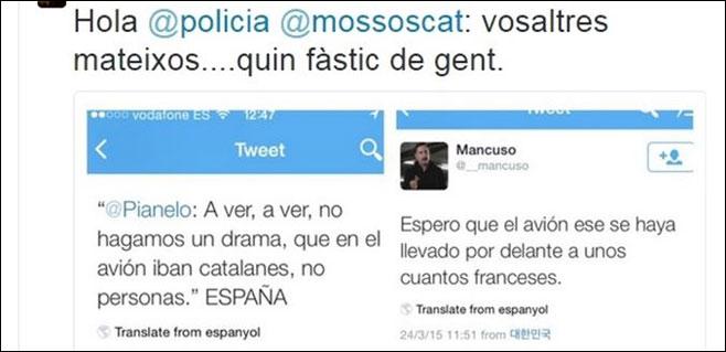 Interior investiga tuits ofensivos contra los catalanes