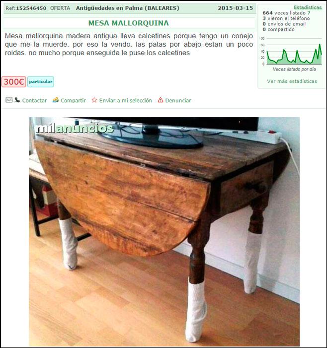 La mesa mallorquina que se defend a del ataque del conejo for Mesa cristal milanuncios
