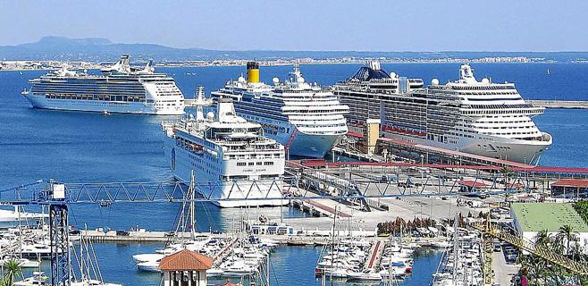 7.500 turistas de 6 cruceros coincidirán este sábado en el Port de Palma