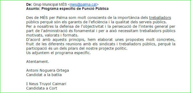 Més utiliza su mail de Cort para difundir propaganda electoral a los funcionarios
