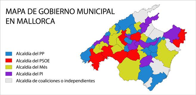 La Mallorca más multicolor tras la jornada de proclamación de alcaldes