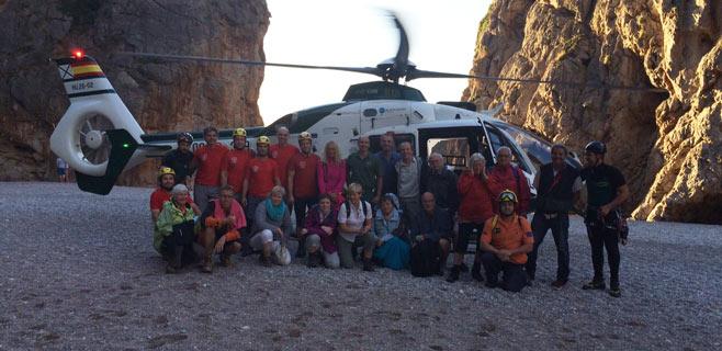 Rescatados 14 jubilados bloqueados por la lluvia en el Torrent de Pareis