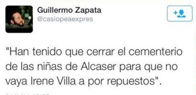 Pedraz cita a Guillermo Zapata y a Irene Villa