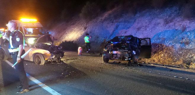4 heridos en un choque frontal de dos turismos en la carretera de Andratx
