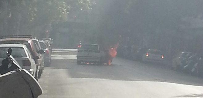Coche en llamas en el centro de Palma