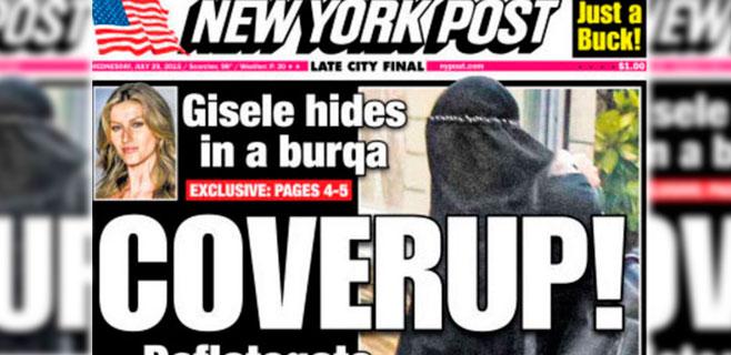 Gisele Bündchen esconde con un burka su operación de pecho