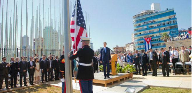 La bandera de EEUU ondea de nuevo en Cuba
