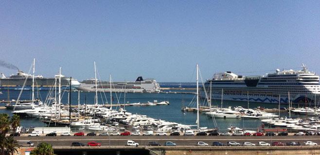 Hasta cinco grandes cruceros coinciden este sábado en el Port de Palma