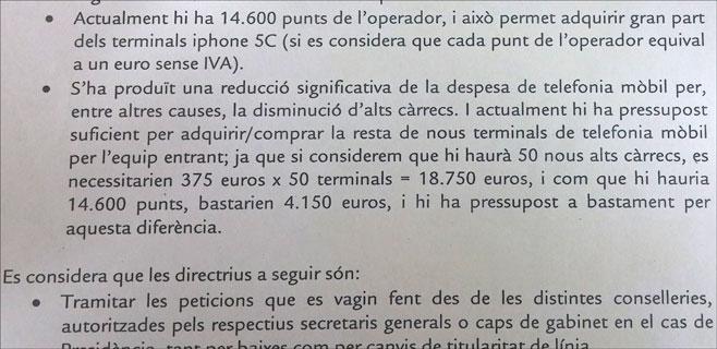 Renovar los móviles de los cargos del Govern solo costaría 4.150 euros