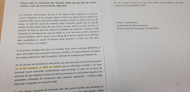 Un informe pidió en 2011 que los cargos salientes del Pacte se quedaran el móvil