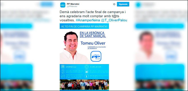 Marratxí denuncia servicios de campaña del PP a cargo del ayuntamiento