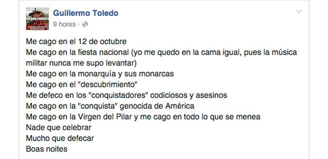"""Willy Toledo se """"caga"""" en el 12 de Octubre y en la Virgen del Pilar"""